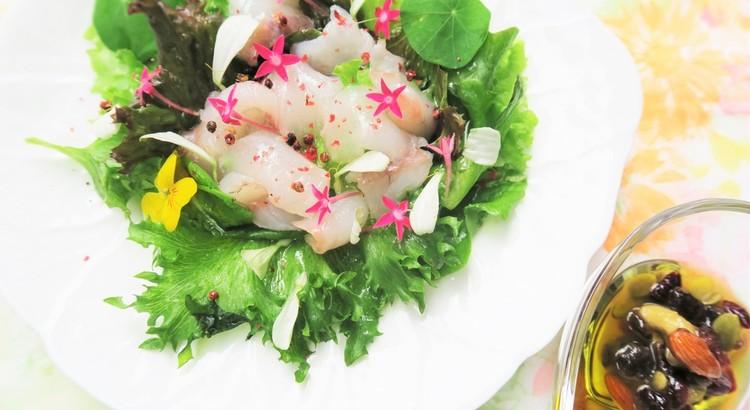 心華やぐ白身魚のカルパッチョ&エディブルフラワー