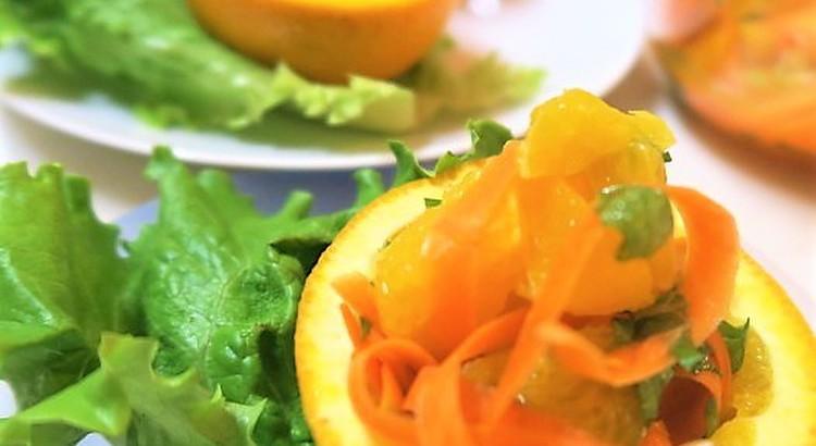 可愛い♡オレンジカップサラダ