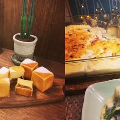 キューブ型クリームパンと牡蠣のクリームグラタンランチ!