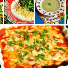 鶏胸肉のトマト煮込み&春菊のクリームスープと小松菜のパスタを作りましょ