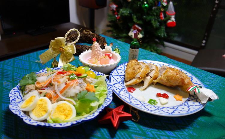 クリスマスに簡単カリッとジューシー骨付きローストチキンと贅沢春雨サラダ