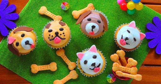 新年を楽しむフォトジェニックケーキ~戌年のワンちゃんカップケーキ
