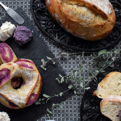 酒粕酵母パン!紫芋リングあんぱん&味噌クッペ、ほんのり甘い紫芋スープ