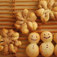 【ランチ付】冬の可愛いプレゼントパン★雪だるま&星の結晶パン&白パン
