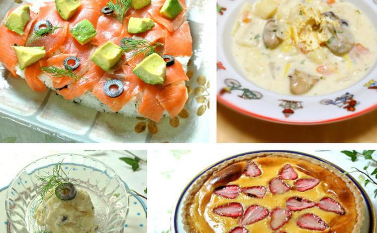 ハートのサーモン寿司と 牡蠣のクラムチャウダーをお家で♡