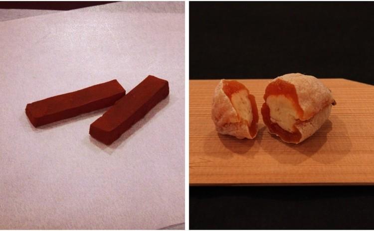 和菓子バレンタインレッスン「和風生姜ショコラ」「干し柿スパイス餡包み」