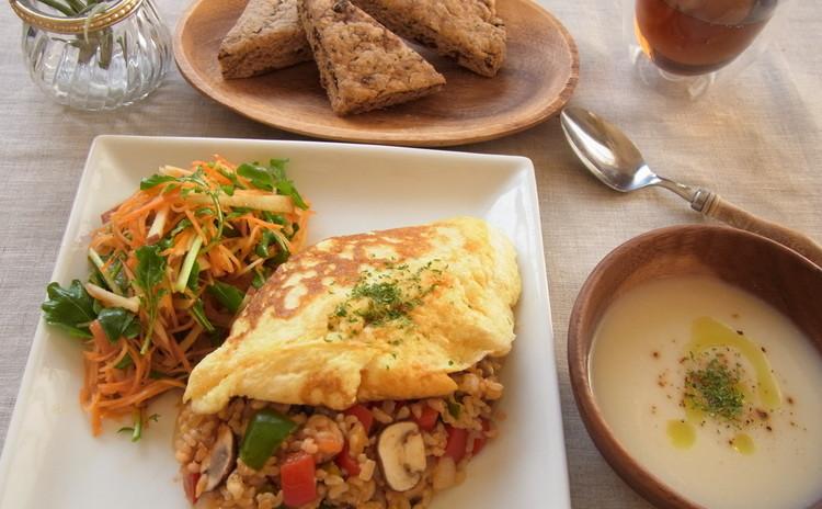 ヘルシーで美味しい♪お豆腐入り玄米オムライスと全粒粉のスコーン