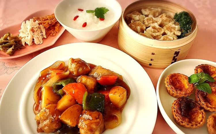 食感が楽しい長芋入り酢豚と胃にも優しい鶏ささみとザーサイの中華粥