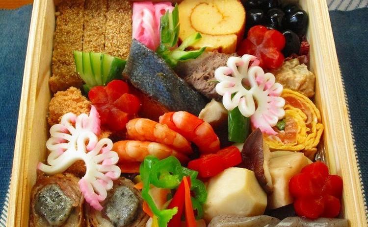 和食基本Ⅰでお節料理 焚き合せ・野菜&鱈の子旨煮・生麩肉巻・五色なます