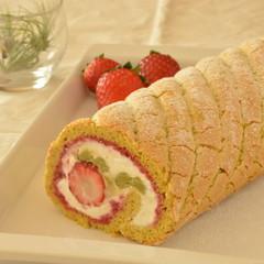 【リクエストレッスン】苺とピスタチオのロールケーキ