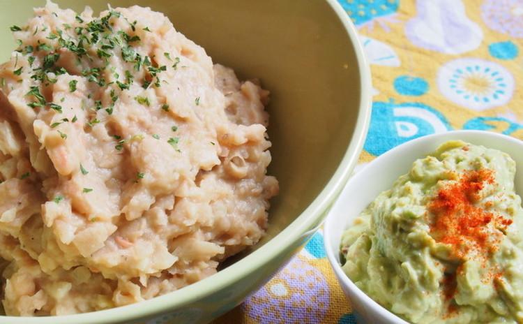 白いんげん豆のリフライドビーンズ&クリーミーワカモレ