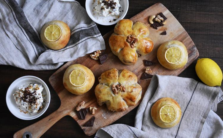 国産レモン酵母パン!はちみつレモン&くるみ、チョコクリームディップ