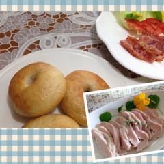 ホシノ丹沢酵母でプレーン・ほうれん草ベーグル2種&簡単鶏ハムを手作り♪