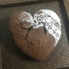「バレンタインハートショコラ」ハート型も作って焼きます♡15㎝丸1台