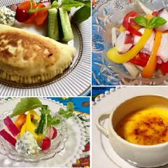 カルツォーネ&タコのマリネ&白菜のポタージュ&クレームブリュレ
