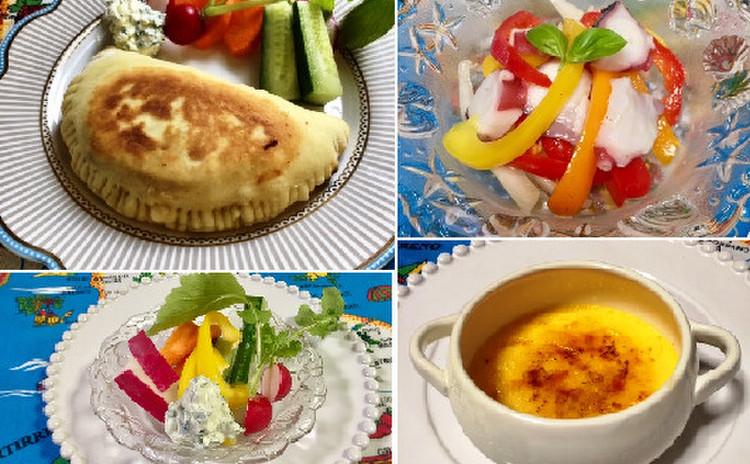 カルツォーネ&春キャベツのパスタ&白菜のポタージュ&クレームブリュレ