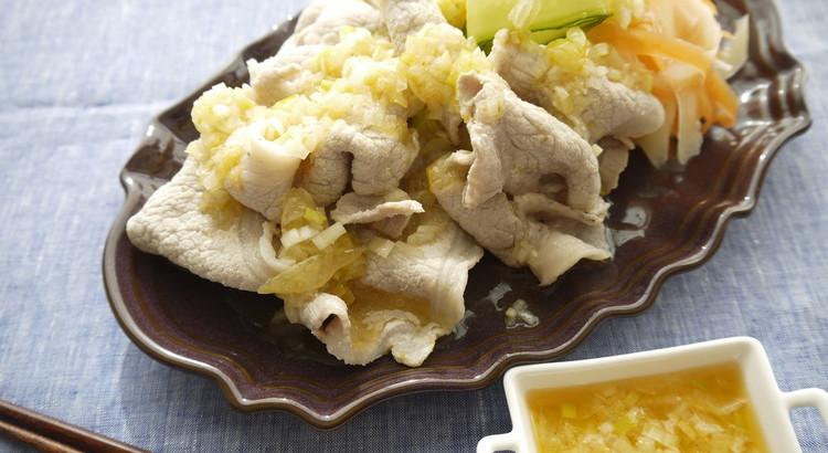 ゆで豚の塩レモンネギ&ラー油タレ