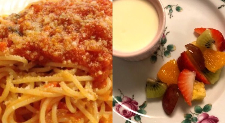 基本!トマトとバジリコのスパゲッティ☆サルティンボッカ☆ドルチェ2品