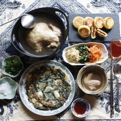 本格参鶏湯・チヂミ・3種のナムル・ホットク
