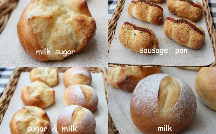 基本を学ぶ・ミルクパン・ミルクシュガー・揚げパン風ソーセージパン (白神こだま酵母)