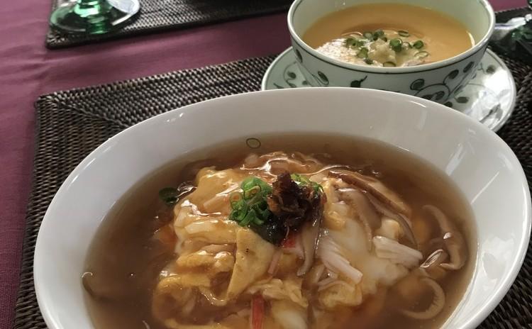 再:天津飯・焼豚・ブロッコリーの蠔油炒め・ごぼうのスープ