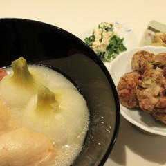 春の香りたっぷりふきのとう肉団子揚げ、新玉葱の丸煮、春野菜