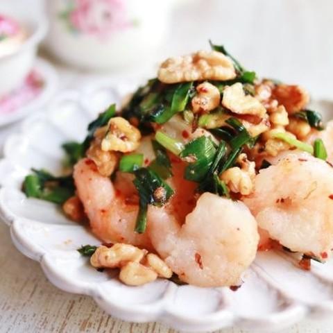 海老とニラの炒め物