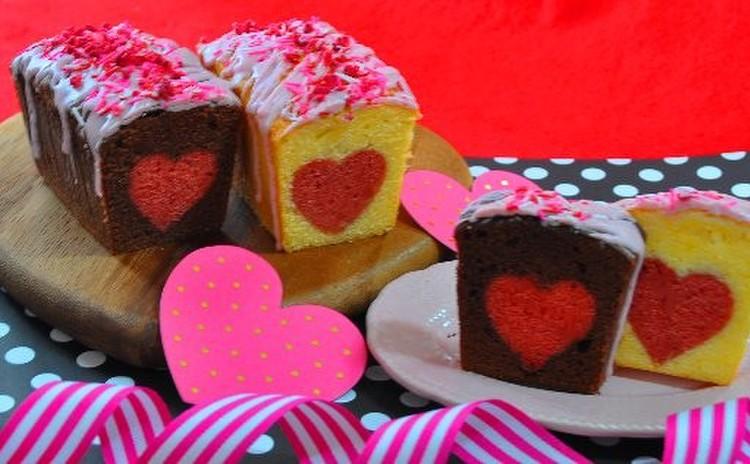 バニラ&ココアのシークレットハートパウンドケーキ