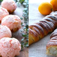 ピンクマカロンを桜パン生地にトッピング!さらに30cmの編みパンも♪