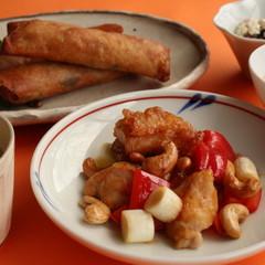 春巻き・鶏とカシューナッツの炒め物 クリナップ新宿ショールームと小田原