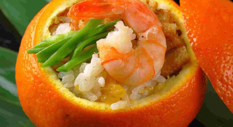 伊予柑の蒸し寿司
