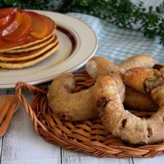 林檎とブルーチーズの馬蹄パン&自家製天然酵母のパンケーキ
