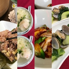 黒米と松の実の粽・蝦雲呑麺・筍と豚肉の甜麵醬炒め・青梗菜とあさり蒸し