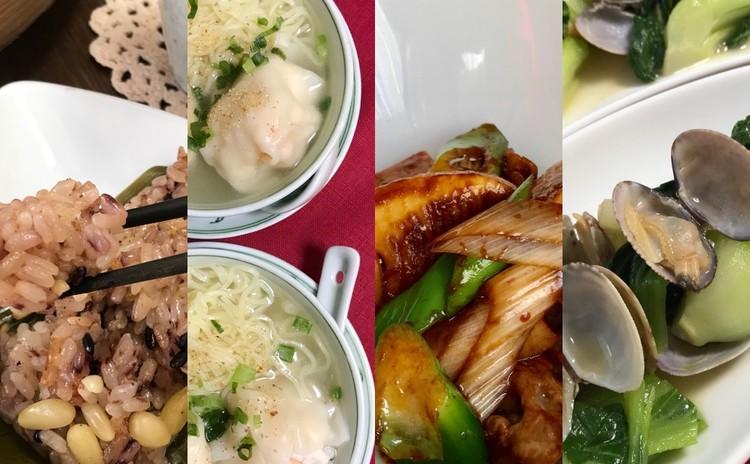 再:黒米と松の実の粽・蝦雲呑麺・筍と豚肉の甜麵醬炒め・青梗菜とあさり蒸し