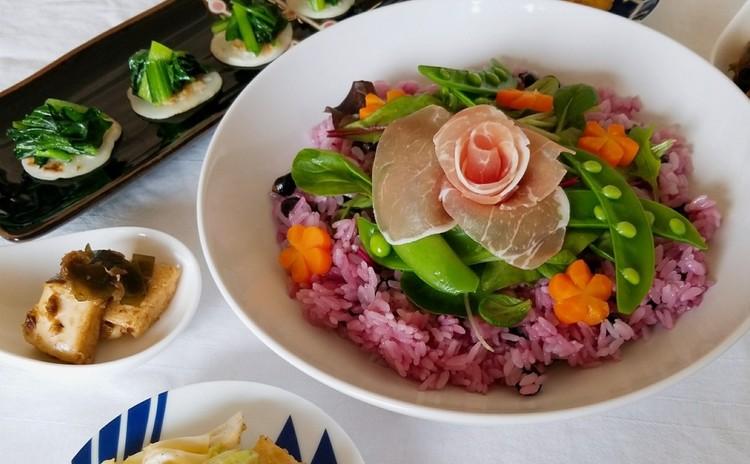 【お出汁と春野菜でほっこり和食】サラダ寿司、だし巻き玉子など