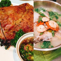 今が旬の魚貝いっぱいのトムヤムスープ&東北イサーンのローストポーク