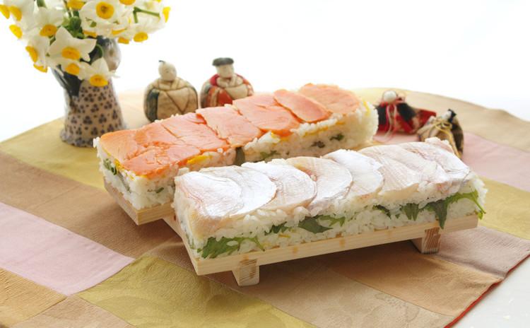 押し柚寿司 スモークサーモン&小鯛のささ漬け