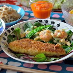 揚げないささみチーズカツ&海老マヨも♡春野菜たっぷりヘルシー献立です♪