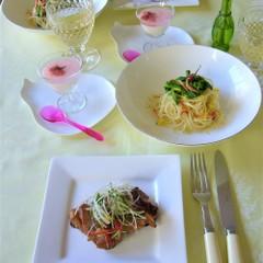 桜エビと菜の花のペロンチーノ、鶏肉の甘酒焼き、桜ゼリーで春の食卓