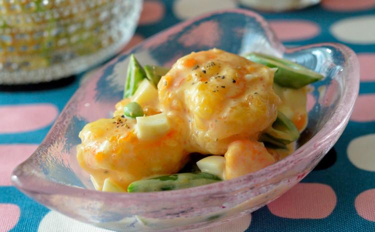 ぷりぷり海老マヨ&スナップエンドウのサラダ