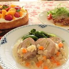 豚フィレ肉のオレンジと柚子胡椒の風味、鯛のマリネ、フルーツのタルト