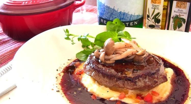 牛肉のグリル クリーミーマッシュポテトと濃厚赤ワインソース 