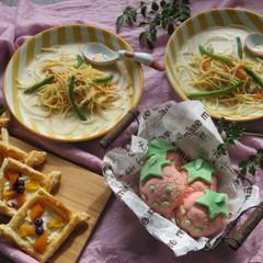 【大人】卵不使用イチゴメロンパン&パイ!スープスパおまけのフルーチェ