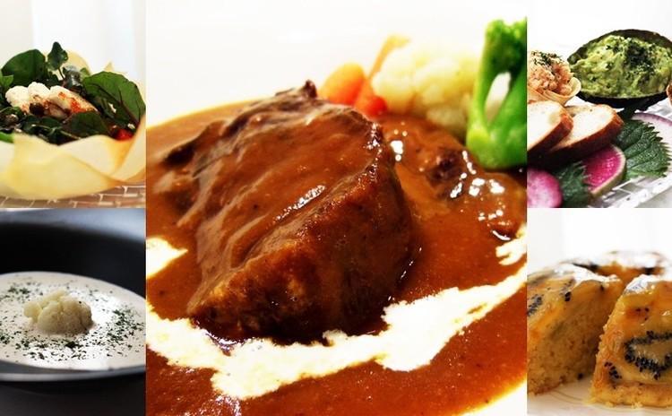 フォークで切れる厚切り牛たんシチュー・ゴルゴンゾーラと白い野菜のスープ・ホットソースで食べるカリフラワーのサラダ~食べる器と共に・ジューシーキウイケーキ他✿お土産付