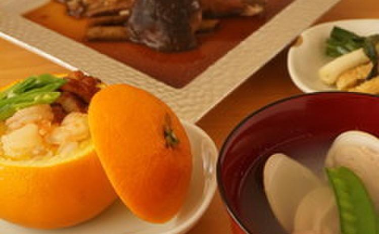 【子連れ限定!】カレイの煮付&青葱とカリカリ油揚げ塩炒め&伊予柑蒸寿司