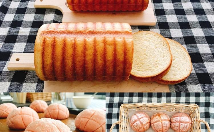 ラウンド食パンとストロベリーメロンパン