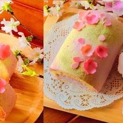 桜満喫♪桜のロールケーキとさくらんぼのマフィン