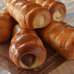 基本の菓子パン生地で! クリームコロネ&チョココロネ こだわりランチ付