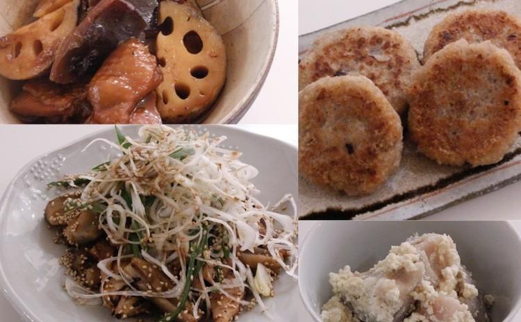 れんこんで4品!たたきれんこんネギ塩ダレ、炒り煮、れんこん餅、