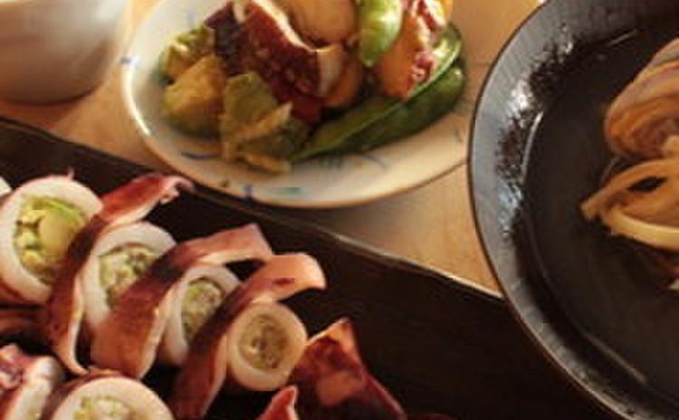 アボカドたっぷり2種!+ヤリイカ、タコ、あさり料理。もっちり蒸し豆腐